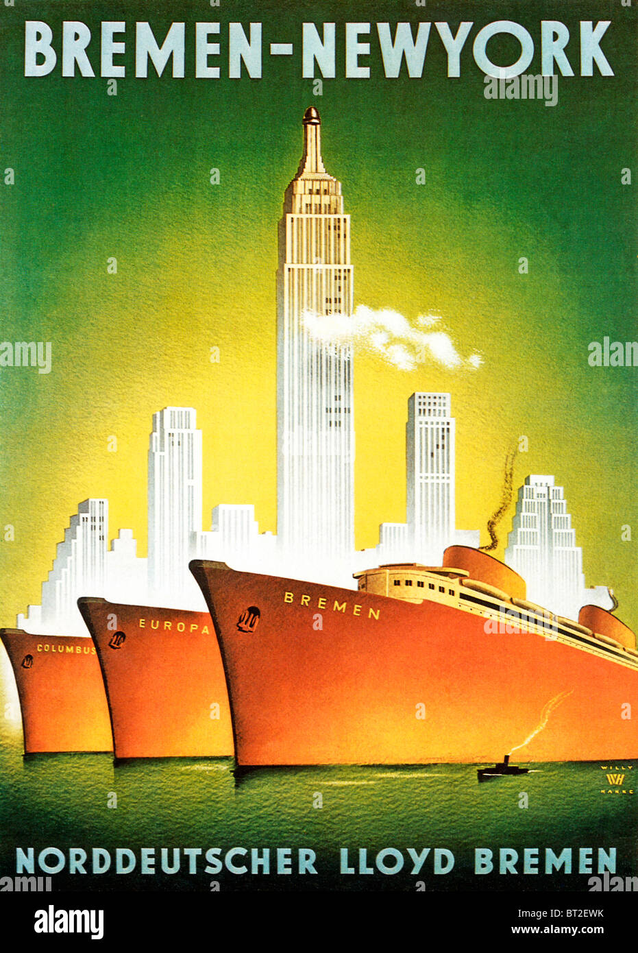 Bremen to New York, 1920s Art Deco poster for the Norddeutscher Lloyd Bremen line sailing from Europe to America - Stock Image