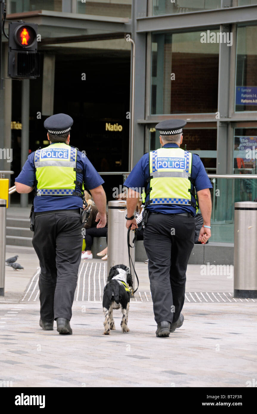 Two Male British Transport Police Officers with Sniffer Dog - Stock Image