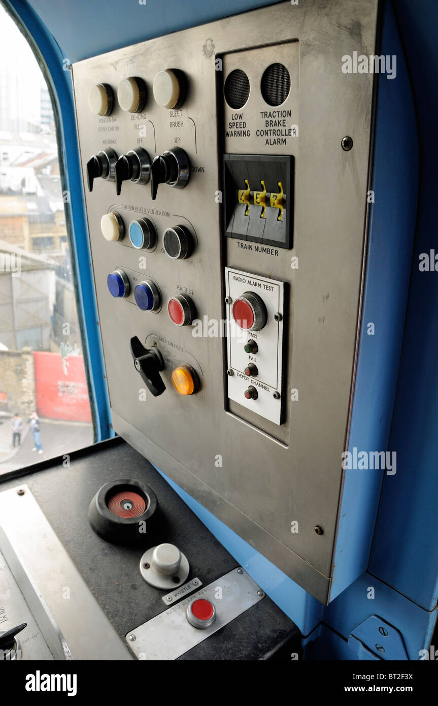 Control panel inside drivers cab of tube train - Stock Image