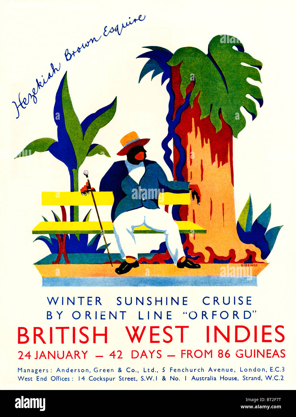 Orient Line, Winter Sunshine, 1931 advert illustrating cruises to the West Indies by the SS Orford Stock Photo
