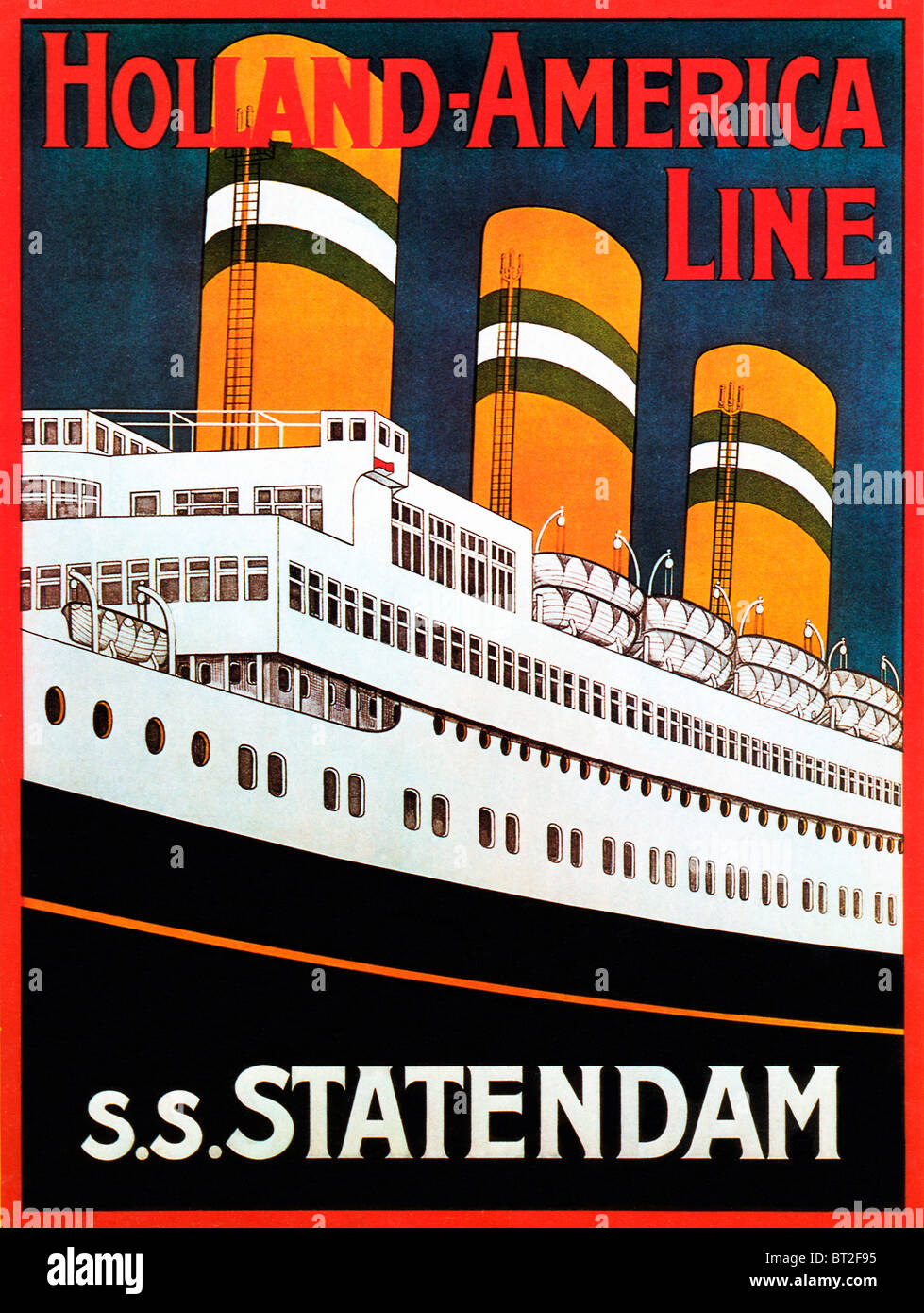 SS Statendam, 1930s poster for the Holland-America Line trans-Atlantic liner, the third of that name - Stock Image