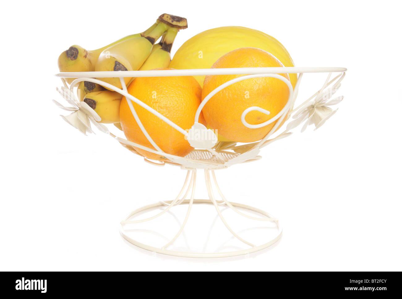Fruit bowl isolated studio cutout - Stock Image