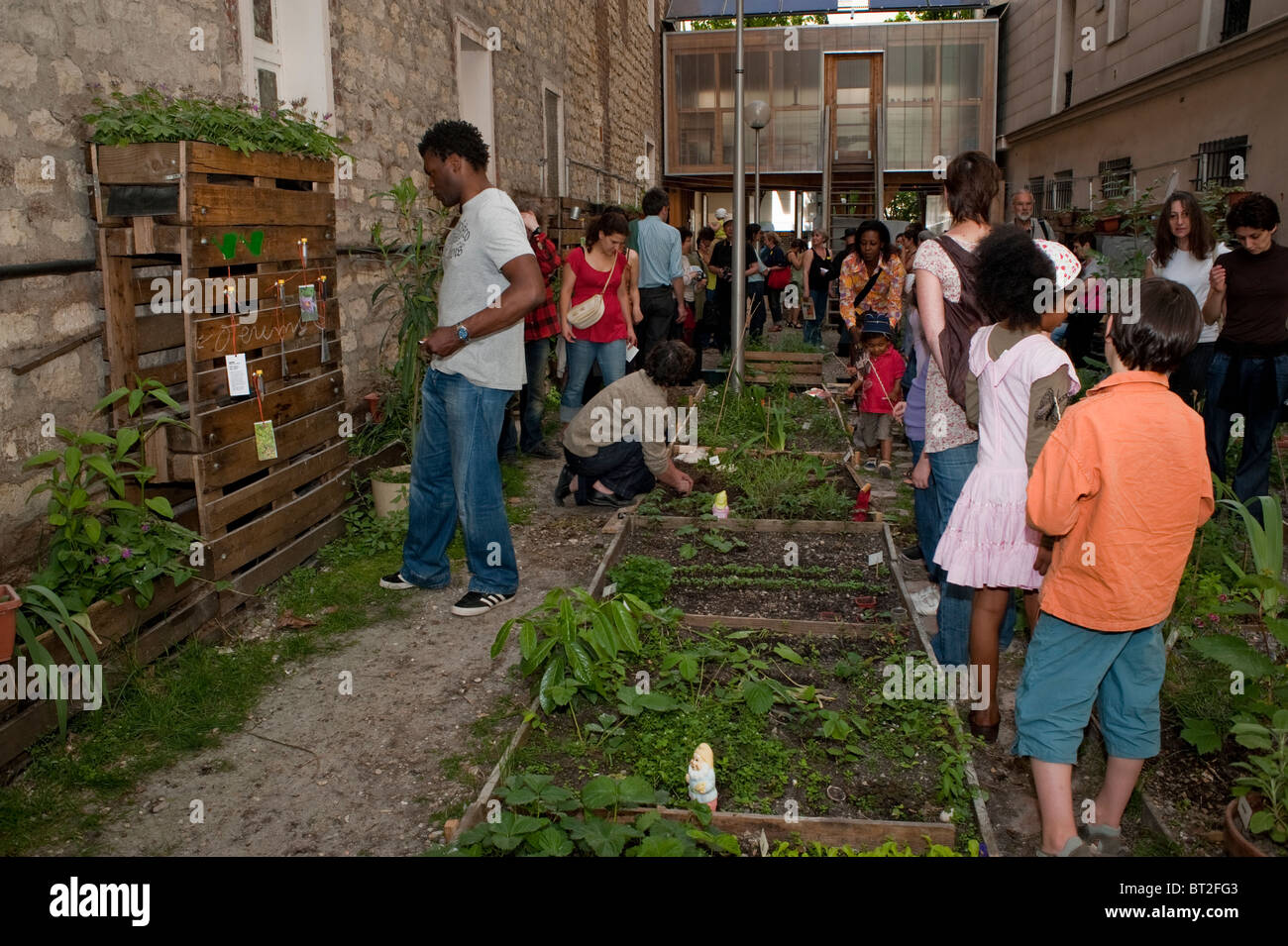Paris France French Families Visiting Backyard Community Garden Low Income Public Housing Building