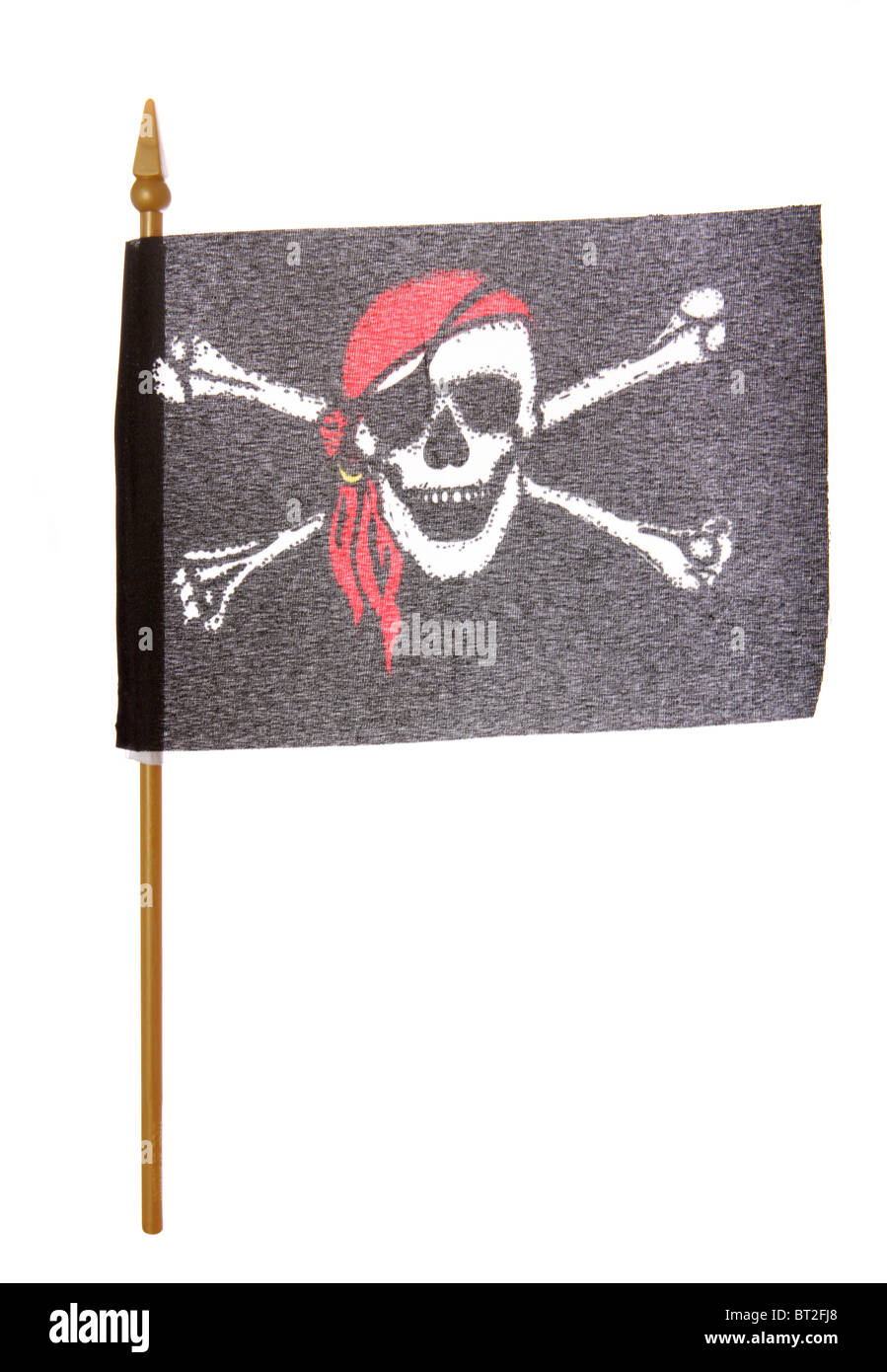 Toy Pirate flag studio cutout - Stock Image