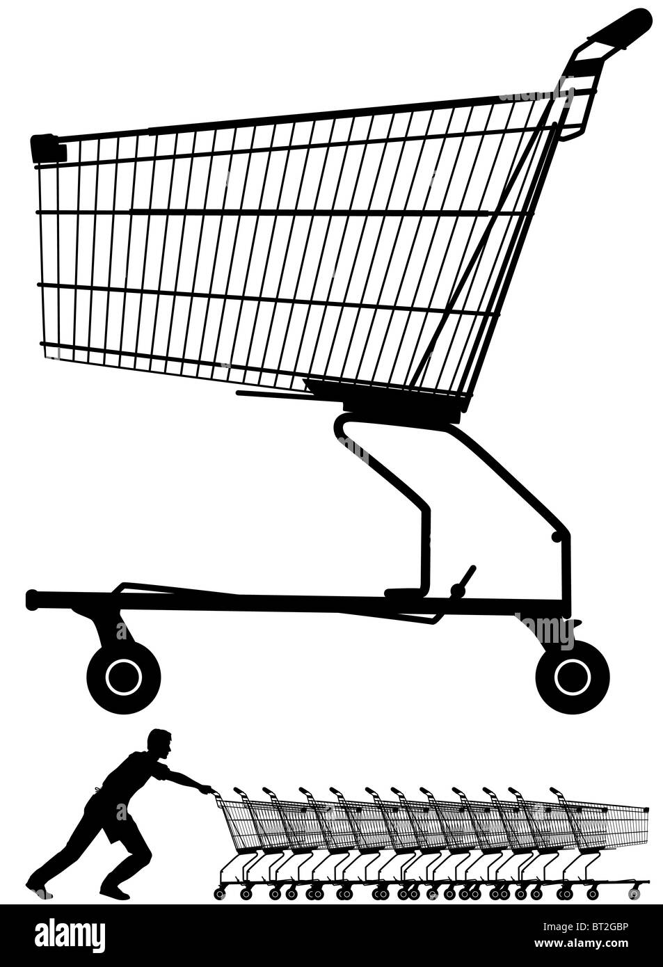 Illustration of a shopping trolley silhouette plus a worker pushing them - Stock Image