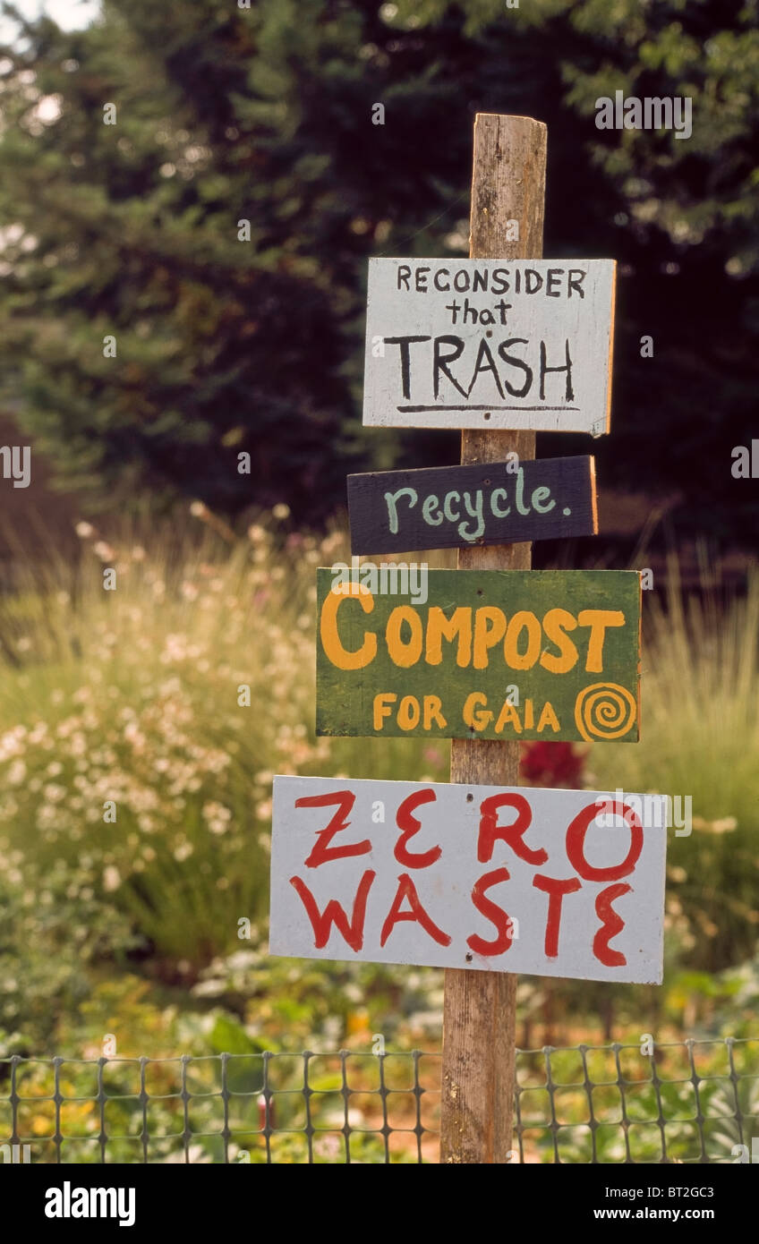 Signs encouraging composting, recycling and zero waste in Hopland, California. - Stock Image