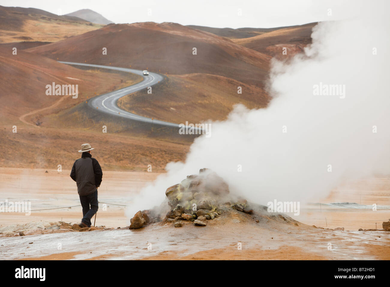 Fumaroles emitting steam in the geothermal area of Hverir near Myvatn, northern Iceland - Stock Image
