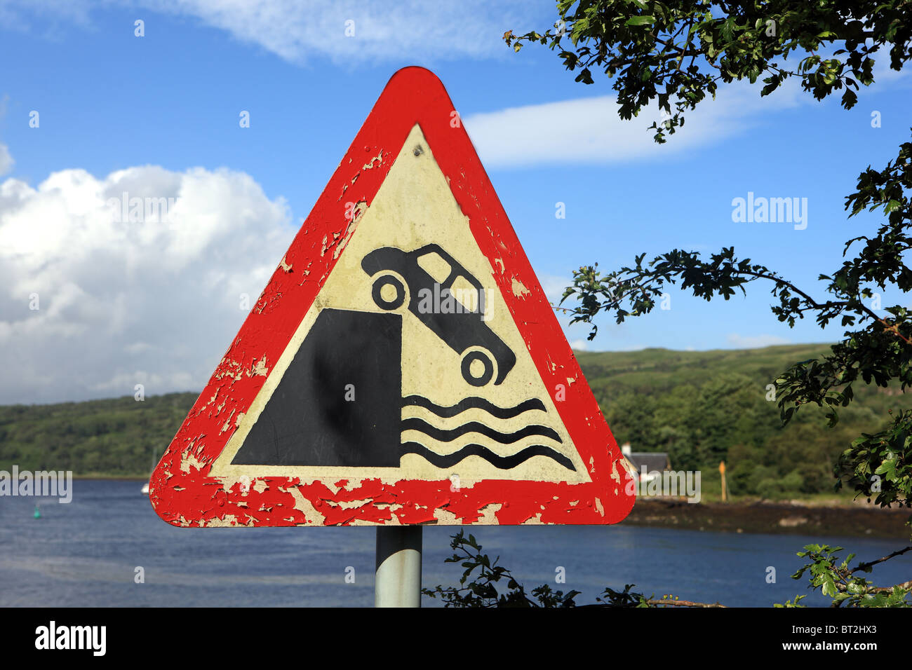 Quay side and riverbank UK road sign at Lochaline on the Morvern peninsula - Stock Image