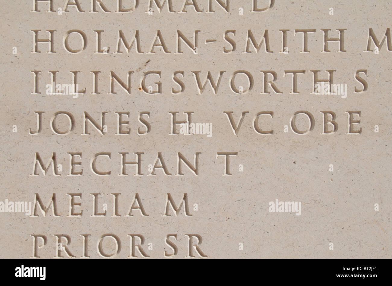 Lieutenant-Colonel Herbert Jones VC OBE on the Armed Forces Memorial, National Memorial Arboretum, Alrewas, Staffordshire, - Stock Image