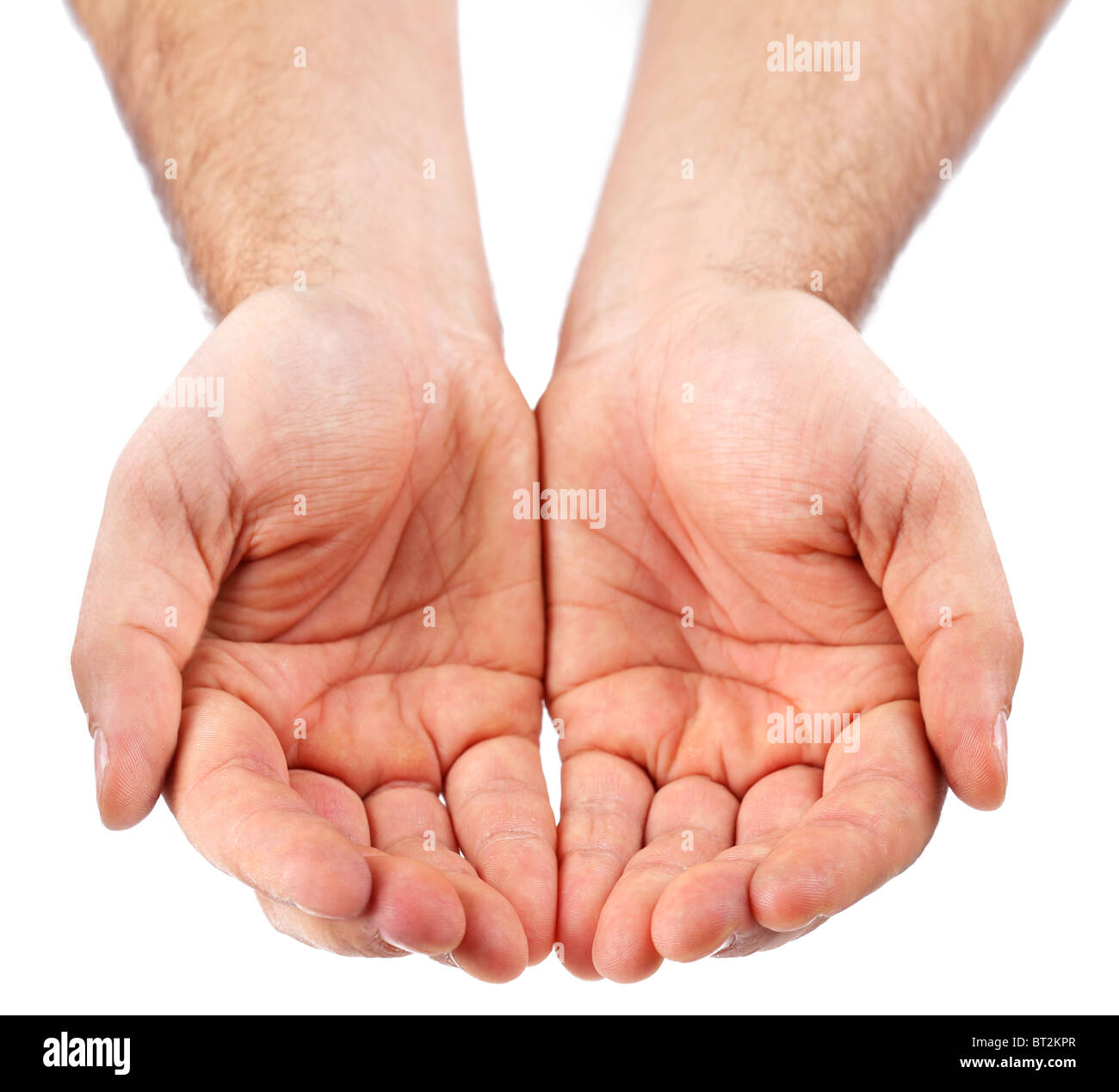Empty palms up isolated on a white background. - Stock Image