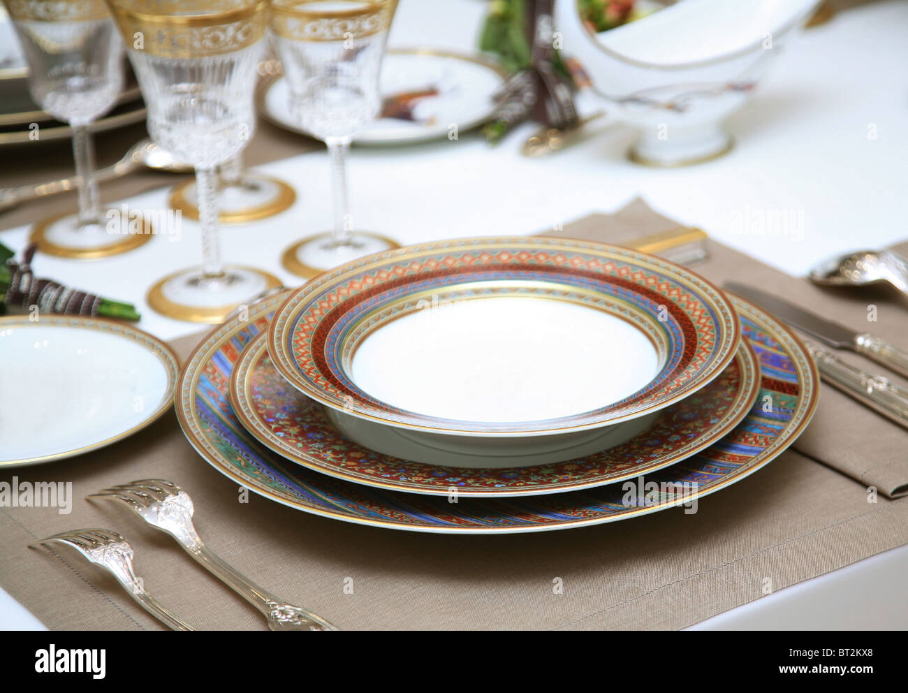 Refined table setting. - Stock Image