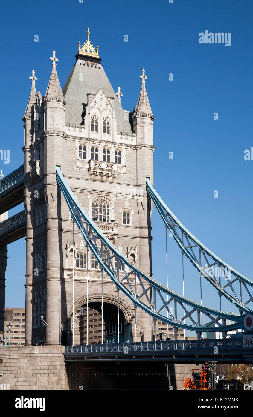 Tower Bridge on River Thames London, completed 1894 to designed by Barry & Brunel - Stock Image
