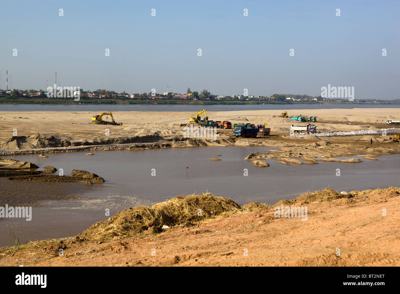 Construction Work Mekong River Waterfront Vientiane Laos - Stock Image