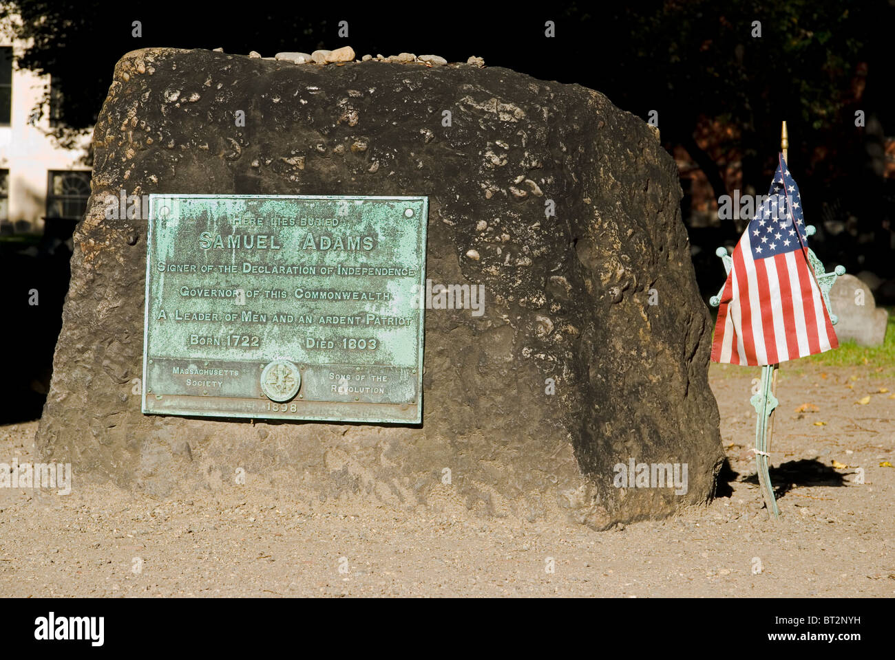 Grave of Samuel Adams, signer of the declaration of independence. Granary Burying Ground, Boston, Massachusetts, - Stock Image