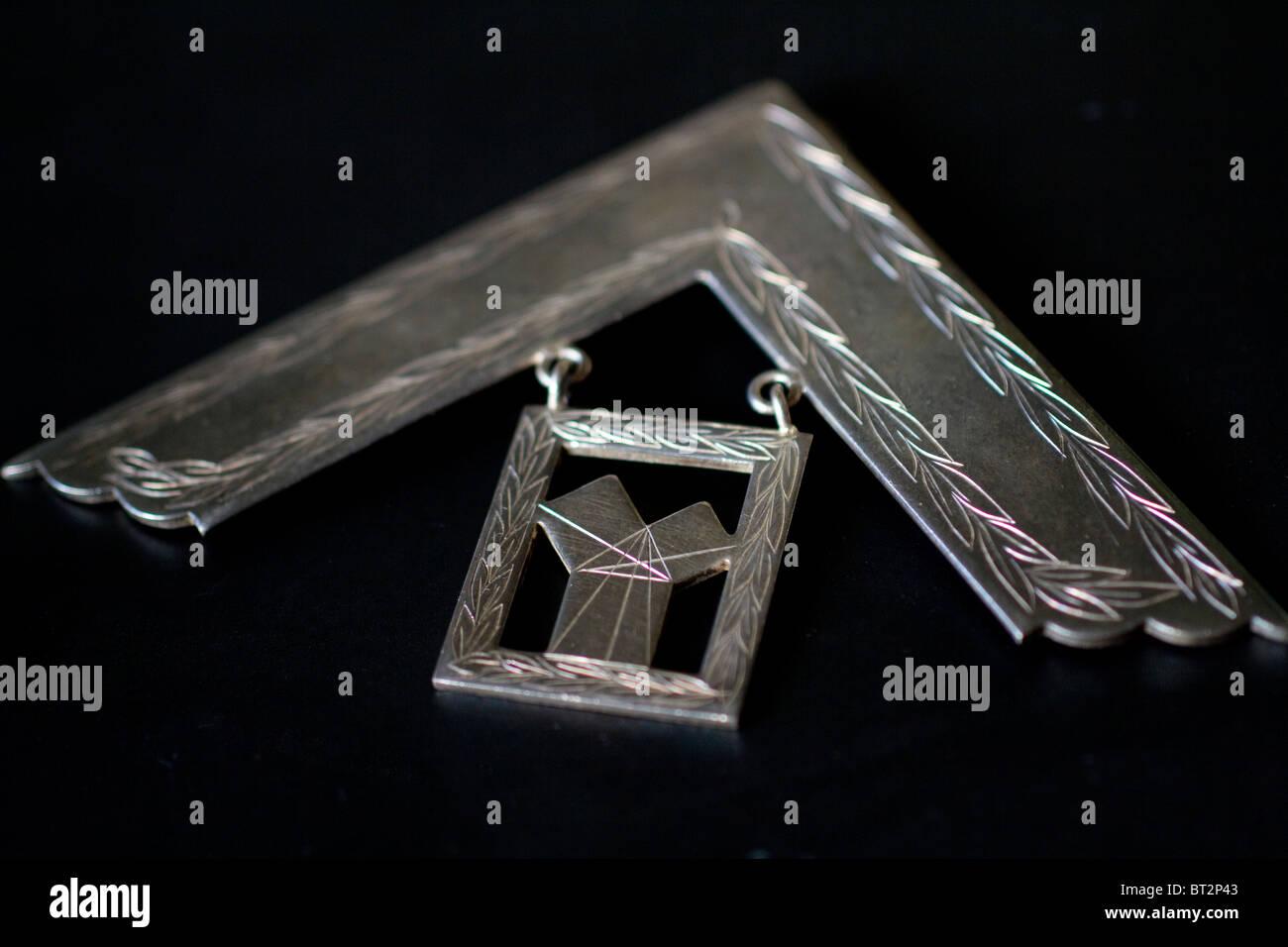 freemason, Masonic Past Master Medal right angled set square symbol. - Stock Image