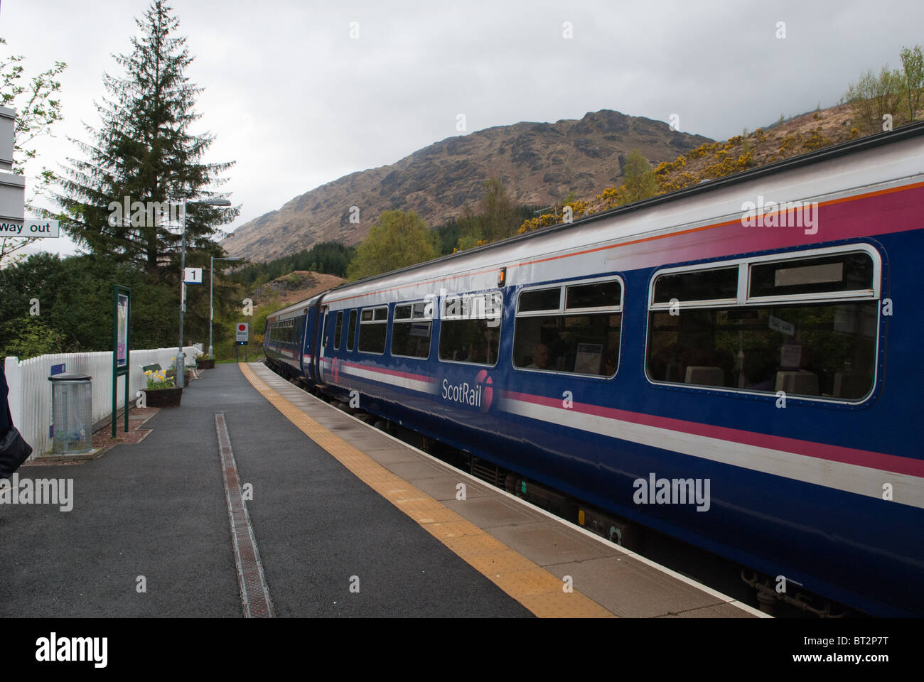 Glenfinnan Station in the famous and beautiful village of Glenfinnan on the Road to the Isles between Fort William - Stock Image