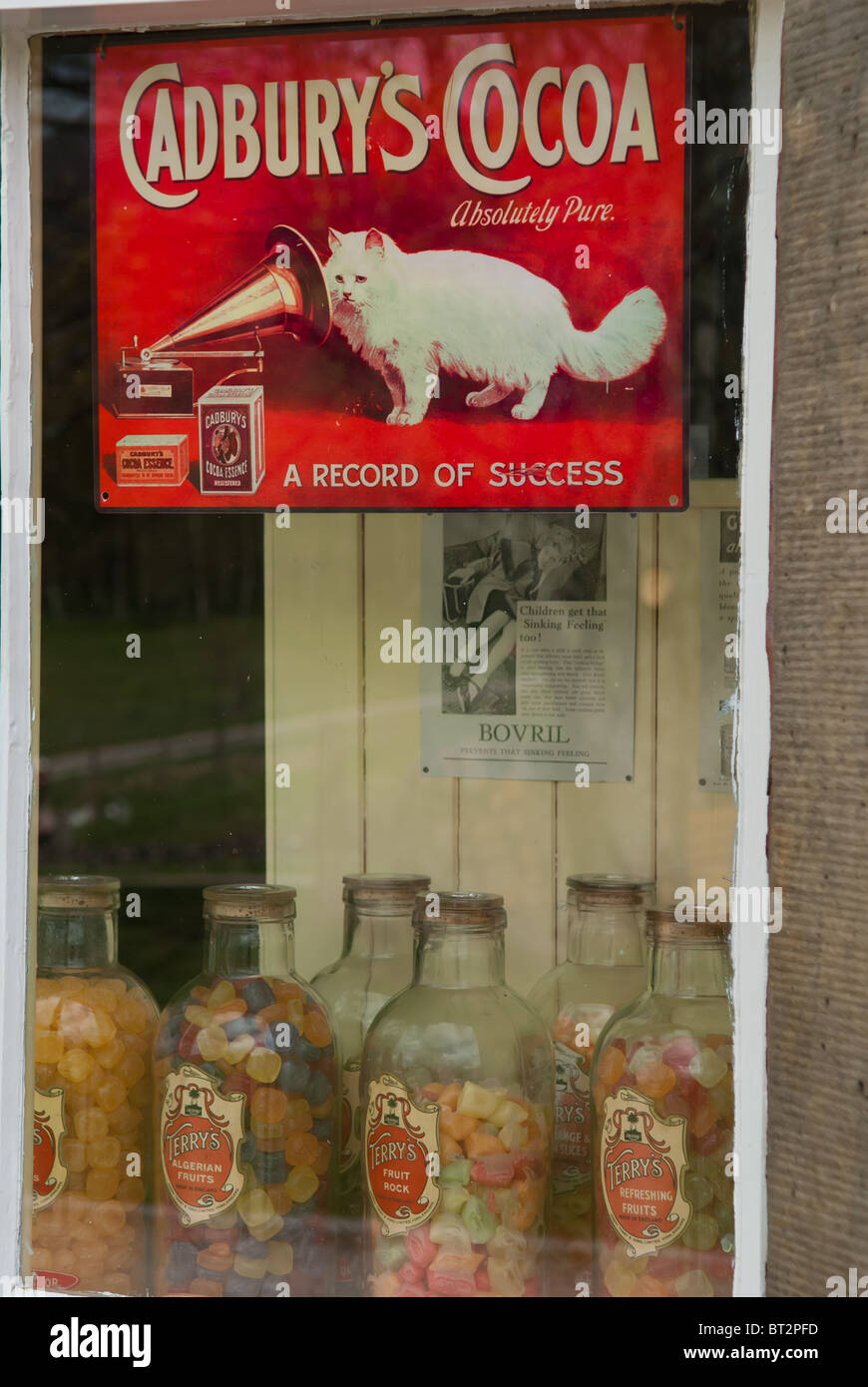 sweetie shop window from the 1930s - Stock Image