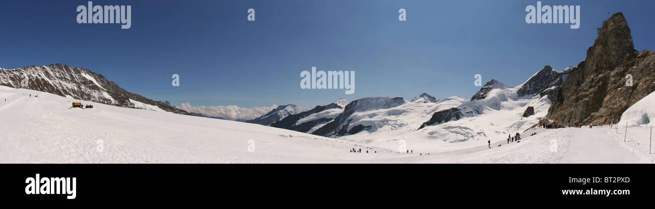 Jungfraujoch.Snowfield Jungfrau. - Stock Image