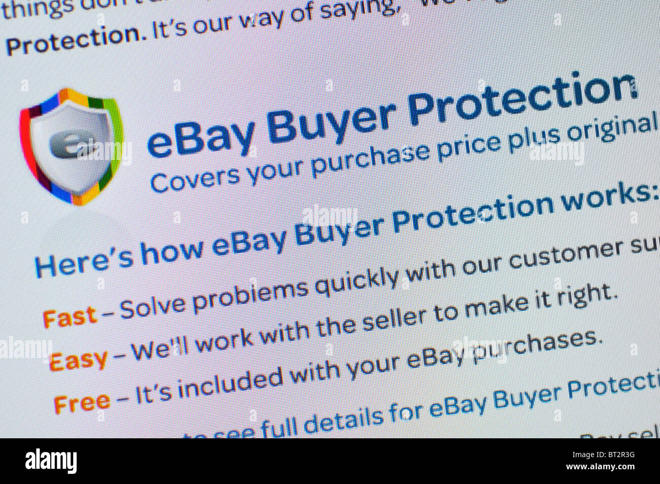 Ebay Buyer Protection Website Stock Photo Alamy