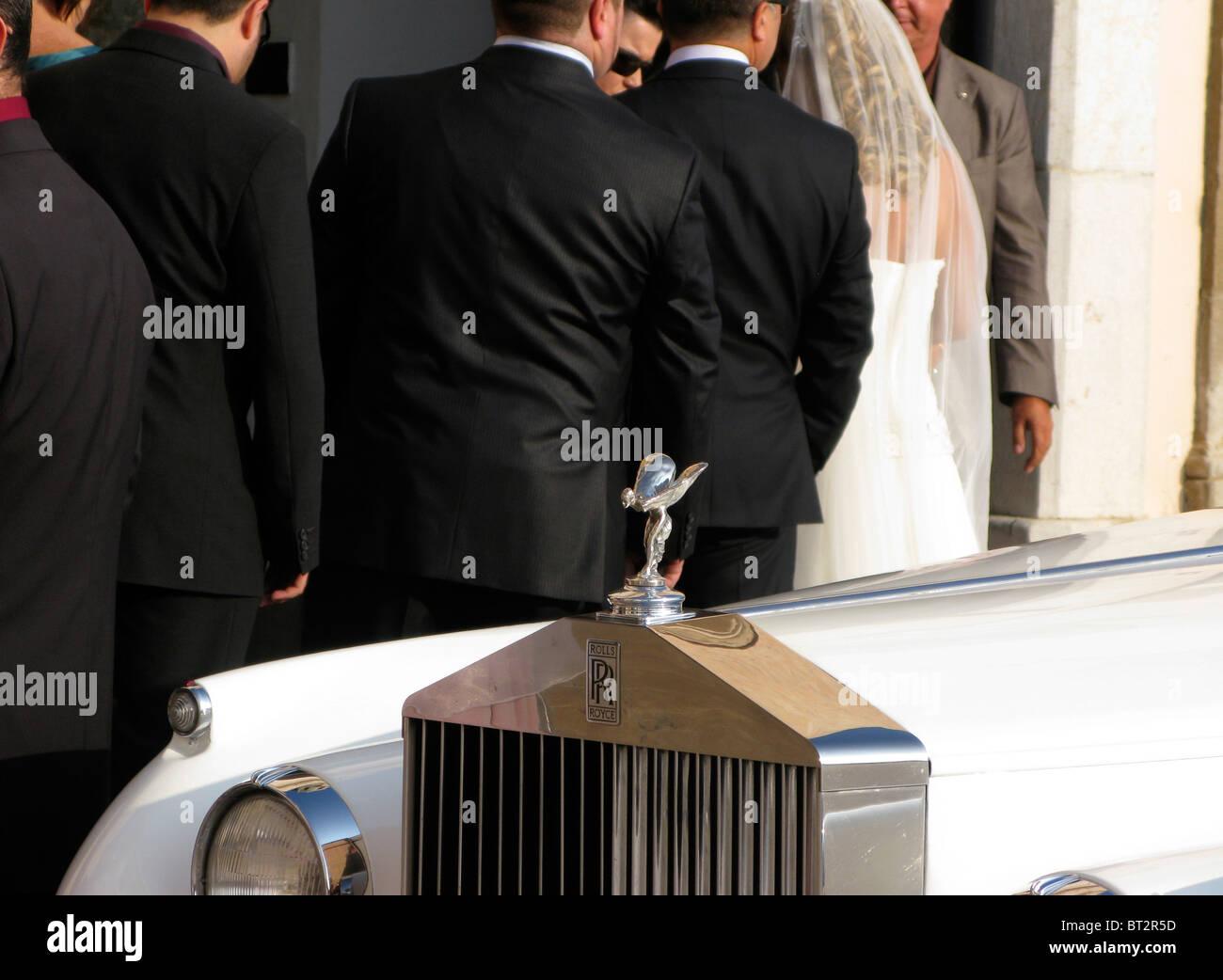 Rolls Royce wedding social status symbol rich richness upper class - Stock Image