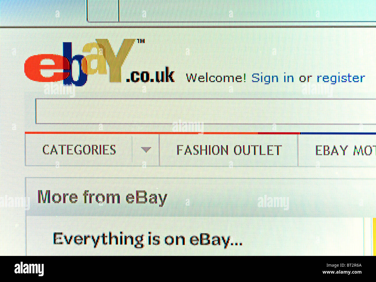 ebay screen shot welcome page - Stock Image