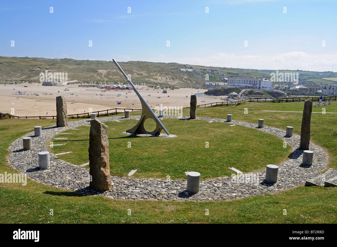 The ' Millenium Sun Dial ' overlooks the beach at Perranporth in Cornwall, UK - Stock Image