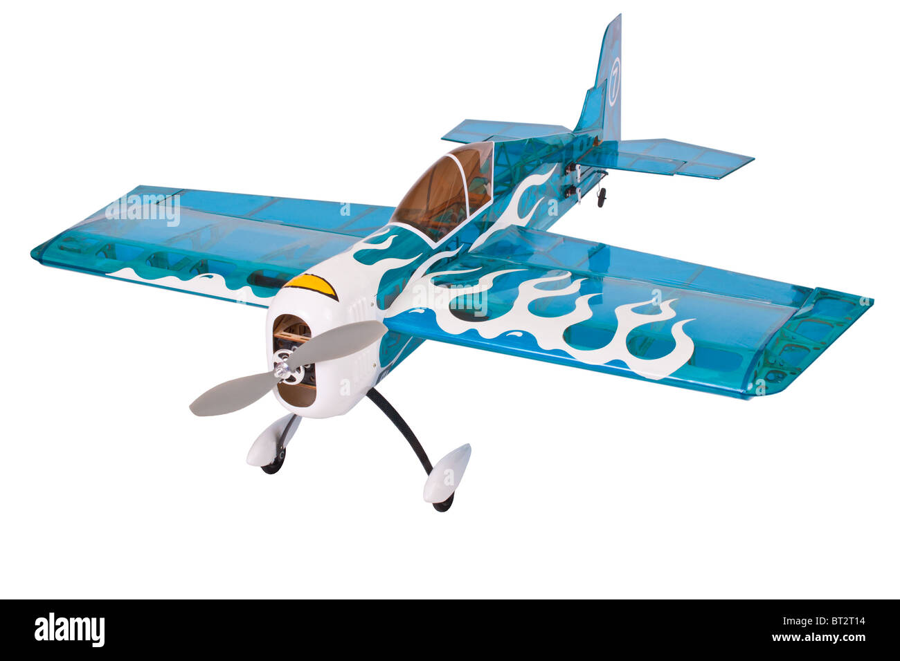 blue colored aerobatic rc model aircraft isolated on white background for your text - Stock Image