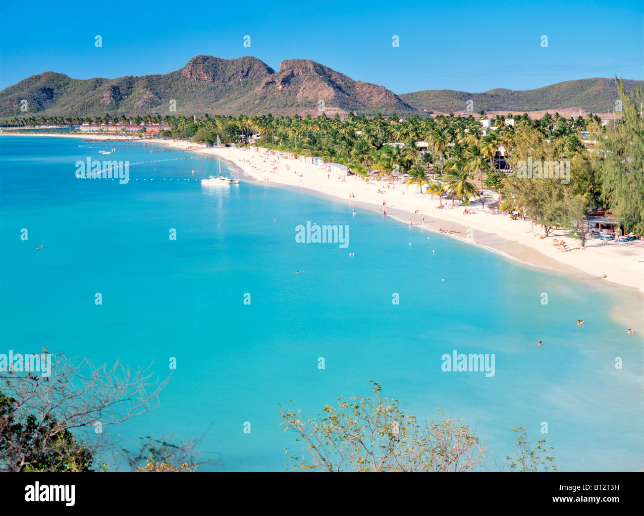 Antigua. North from Coco Beach over Valley Church Bay and Lignum Vitae Bay to Jolly Harbour on west coast of Caribbean - Stock Image