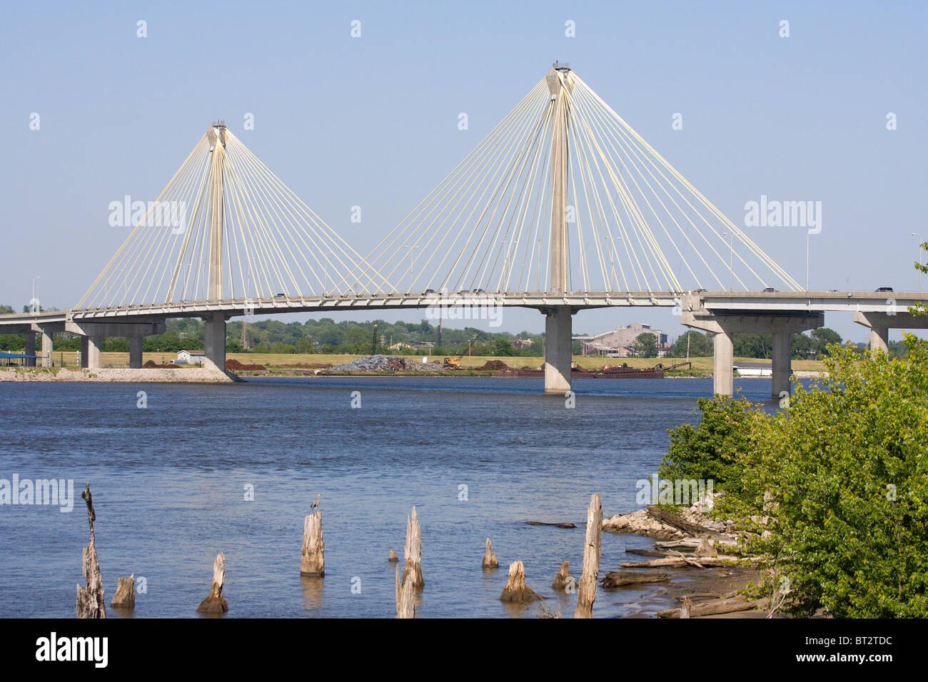 Clark Bridge, Alton, Illinois, United States - Stock Image
