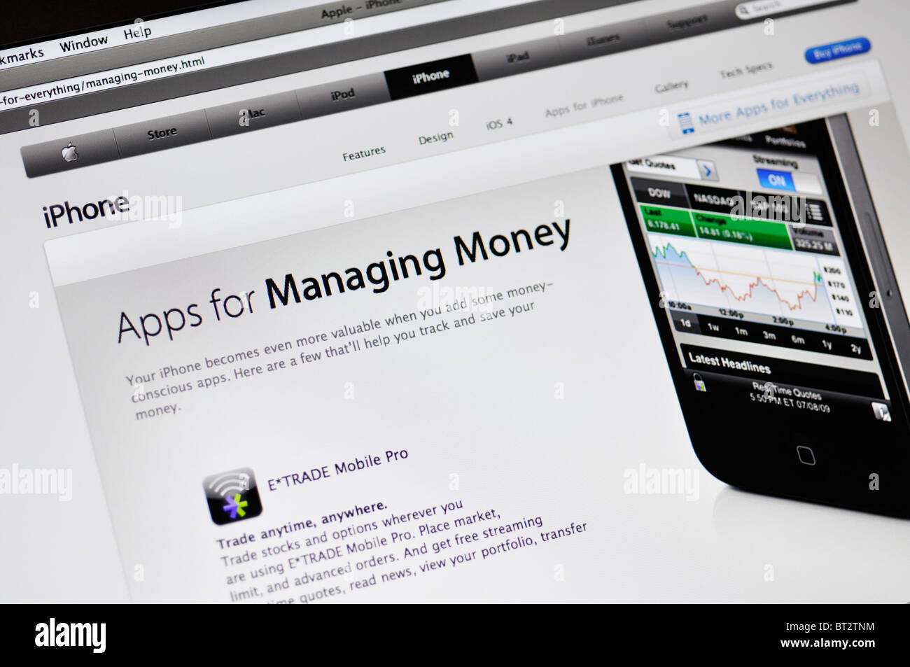 Apple store website showing iPhone applications for managing