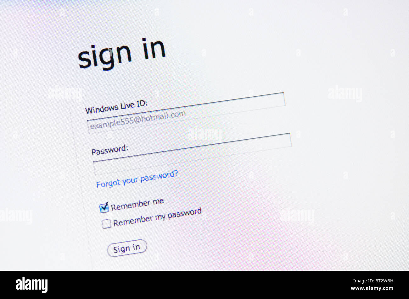 Sign In / Log in page - Stock Image