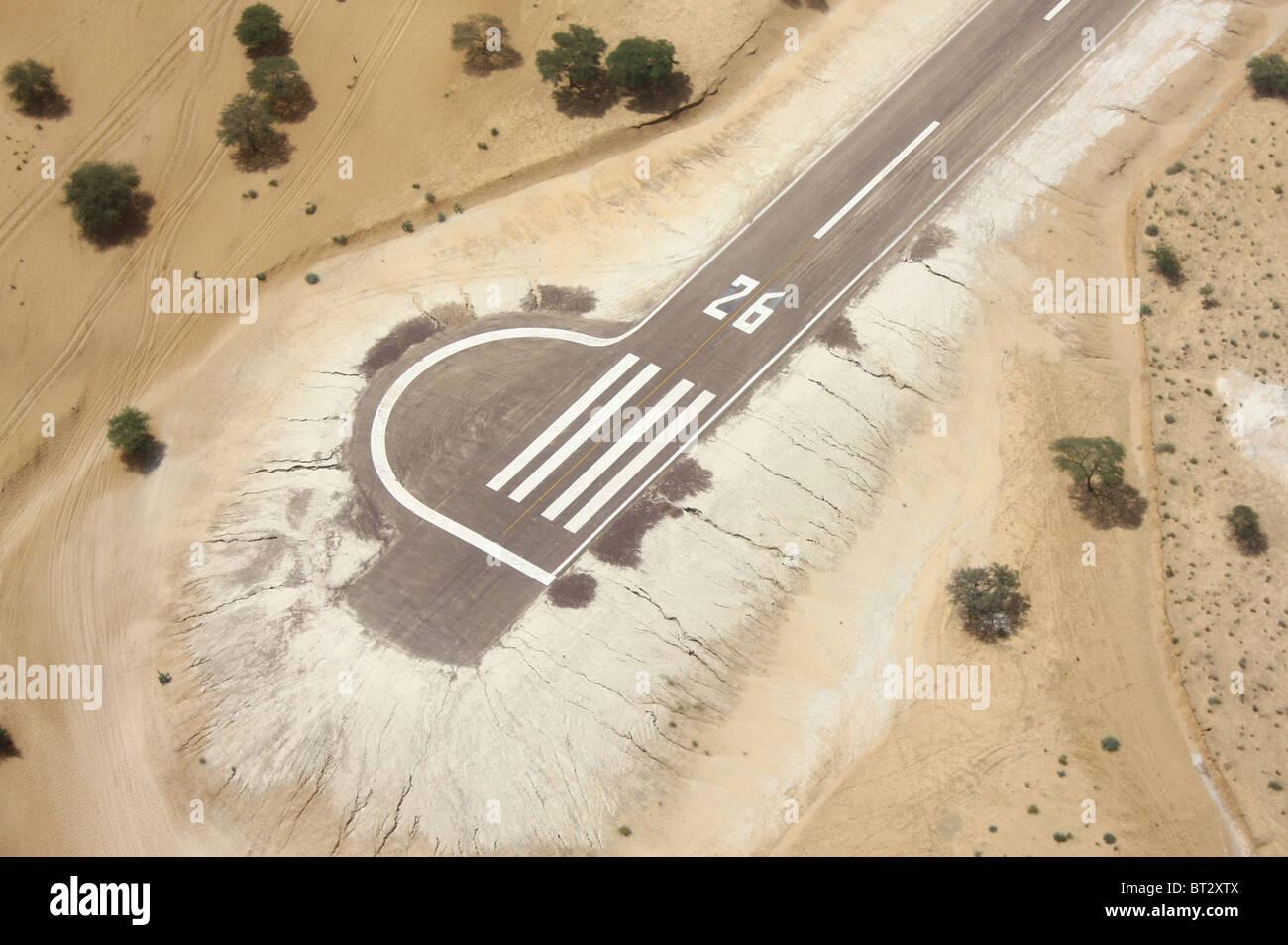 AIRSTRIP RUNWAY IN CHAD DESERT MAO - Stock Image