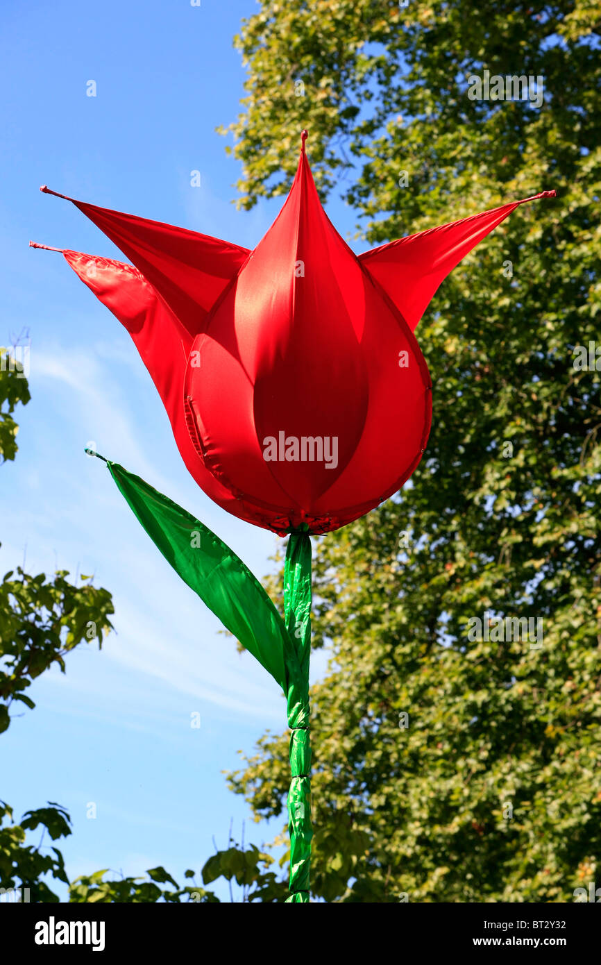 Giant artificial flowers stock photos giant artificial flowers giant red tulip at a dutch themed weekend in dorset stock image mightylinksfo