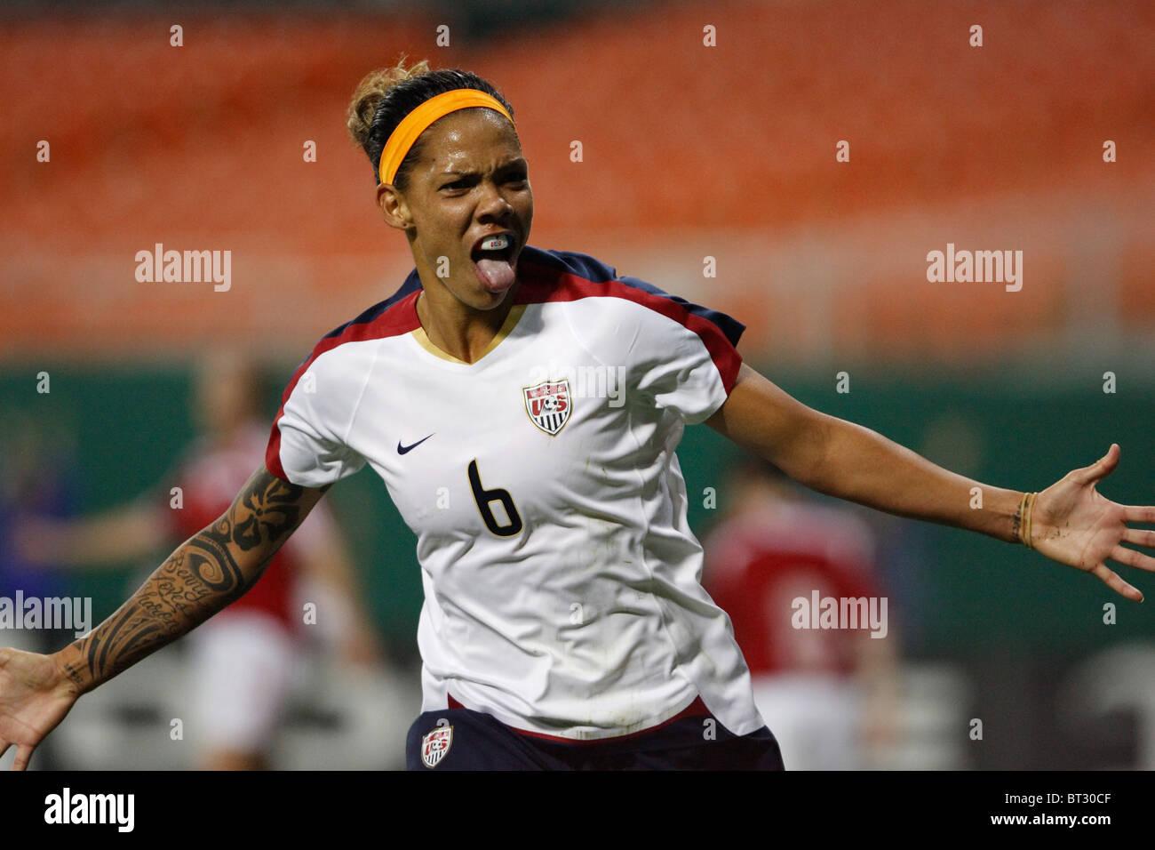 fe079a066a5 United States forward Natasha Kai celebrates after scoring a goal against  Canada during an international soccer