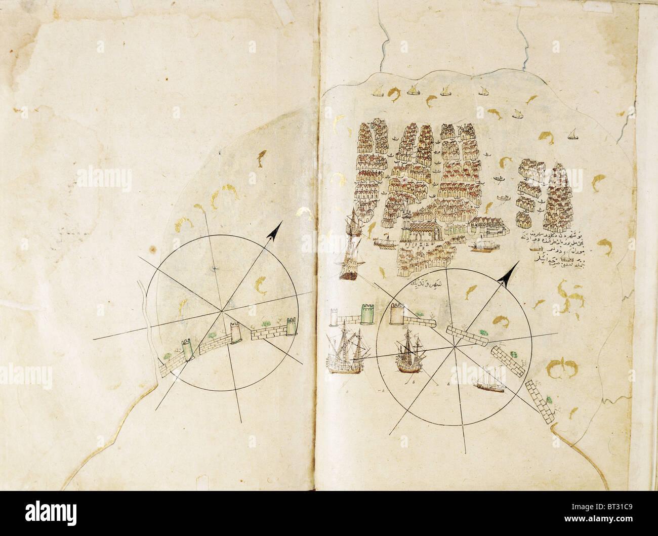 Historical chart of Venice by Piri Reis Kitab i Bahriye Istanbul university library Turkey - Stock Image