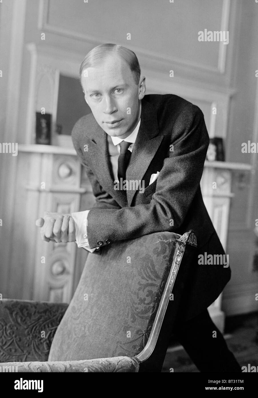 Portrait photo circa 1918 of Russian composer, pianist and conductor Sergei Prokofiev (1891 - 1953). - Stock Image