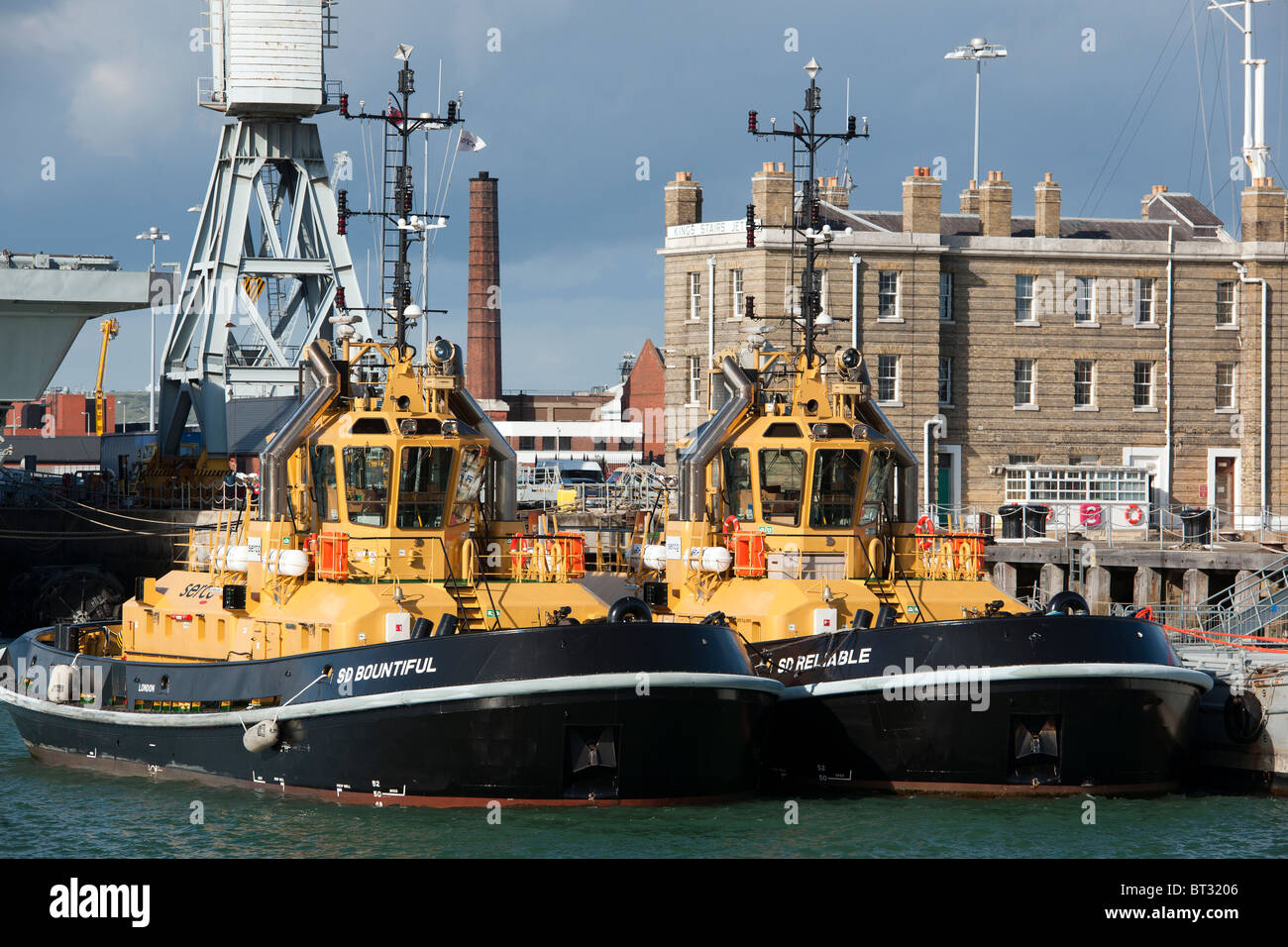 New tugs for the Portsmouth Harbour Authorities, Portsmouth Dockyard, Portsmouth, Hampshire, England, UK. - Stock Image