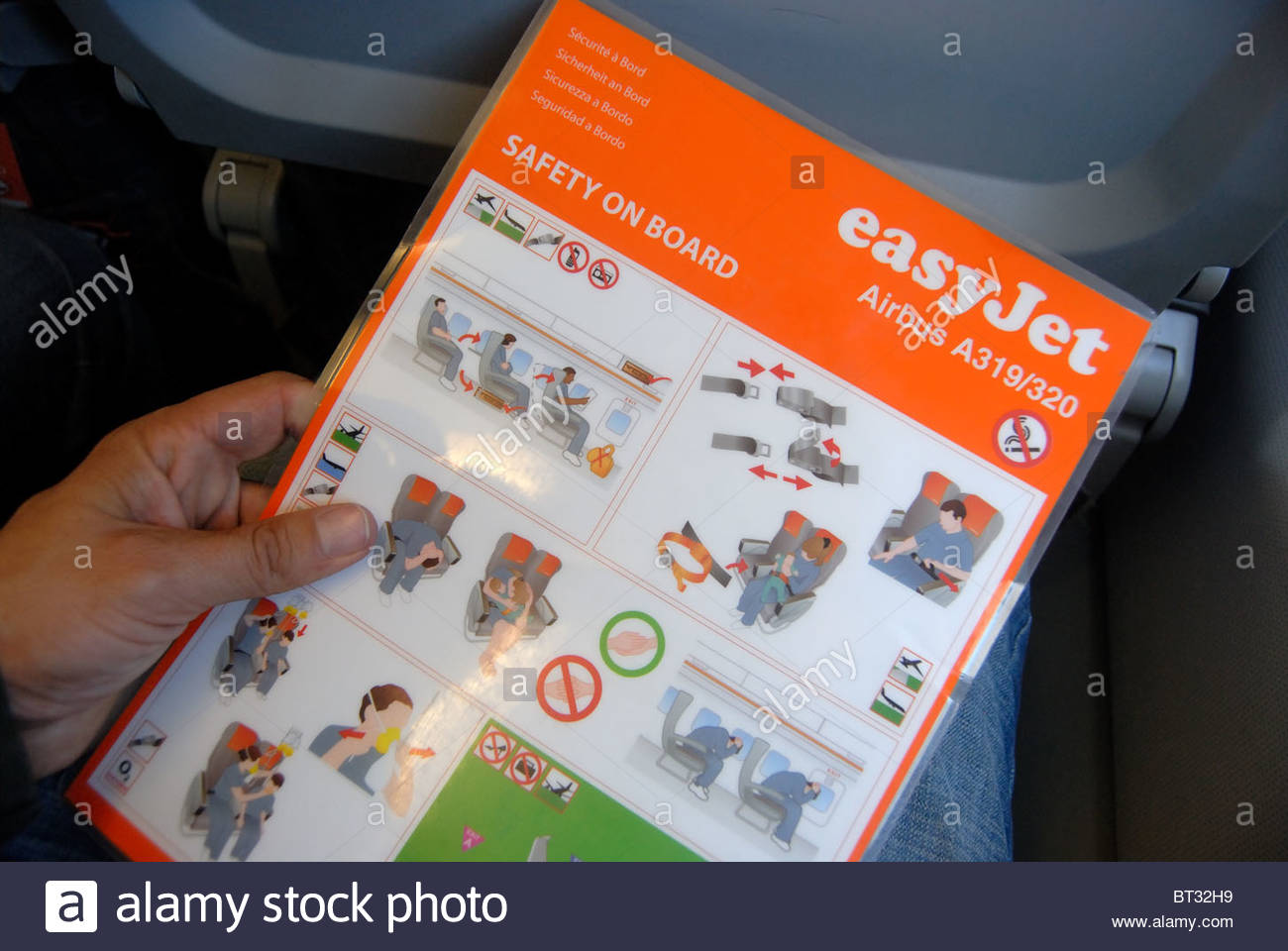 Bristol UK Easyjet airplane safety instructions. Airbus A319. - Stock Image