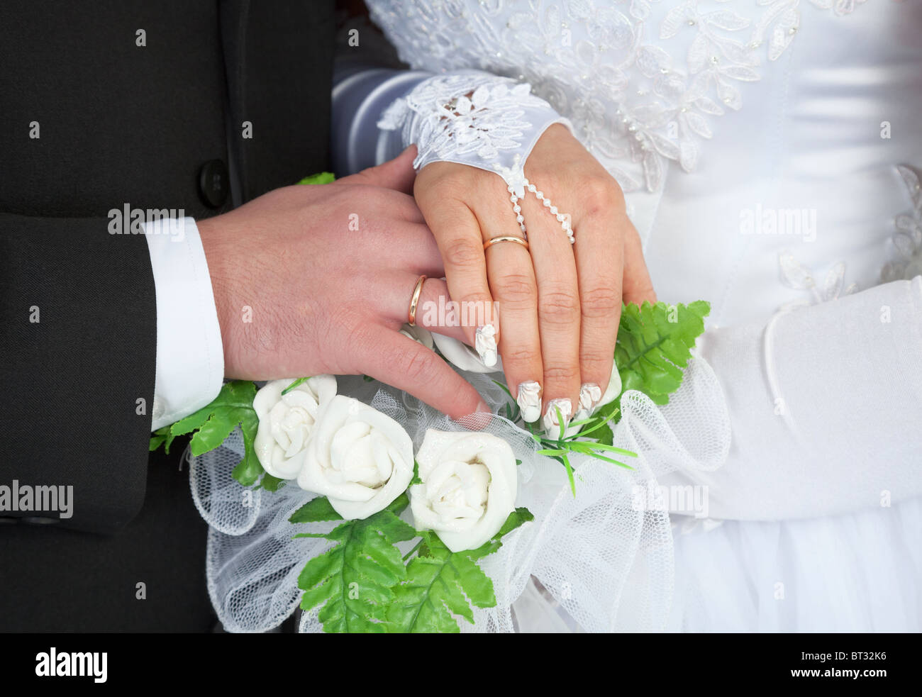The Male And Female Hands With Wedding Rings Stock Photo 32030074