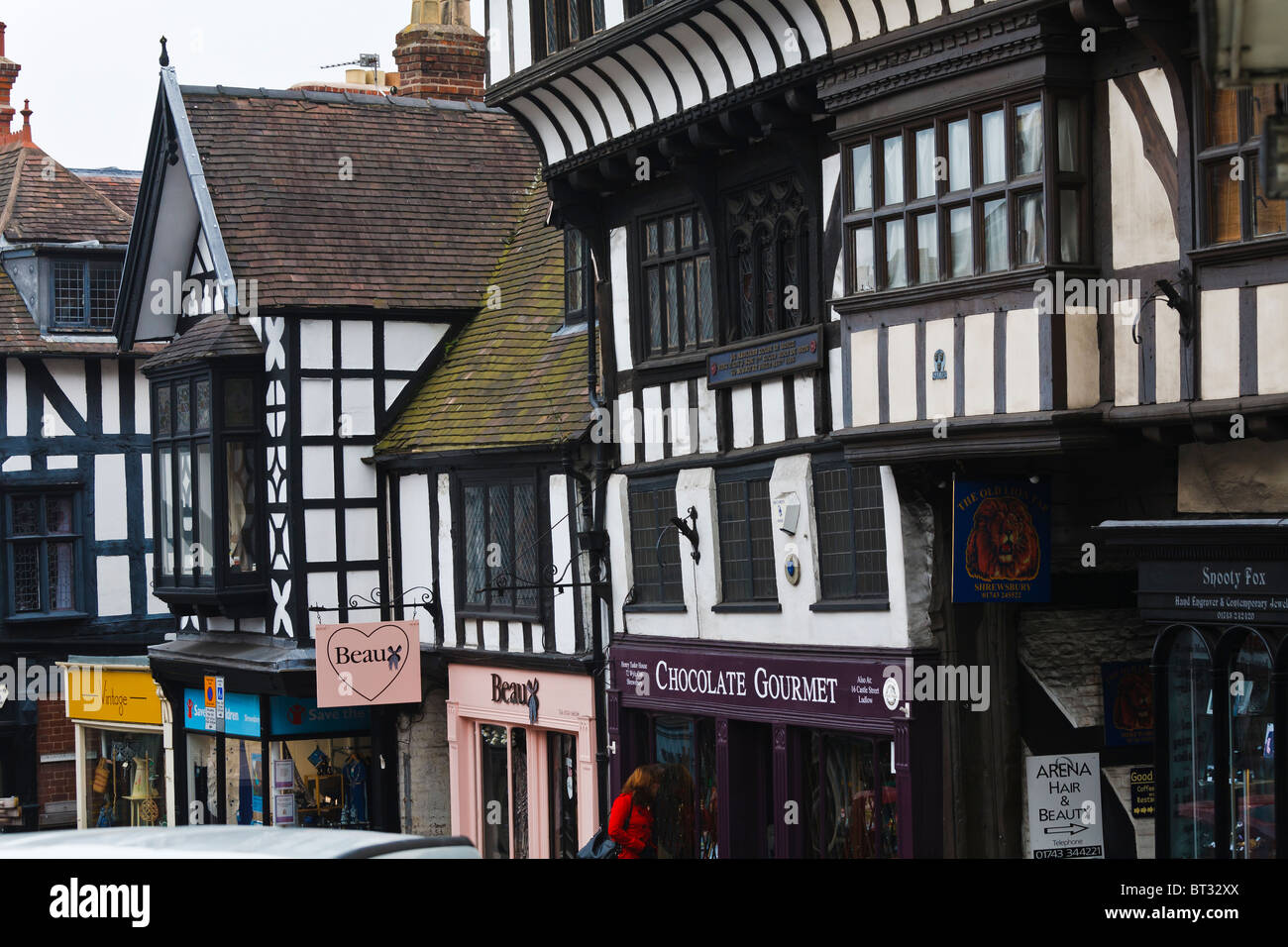 Henry Tudor House and half timbered buildings in Wyle Cop, Shrewsbury, Shropshire. - Stock Image