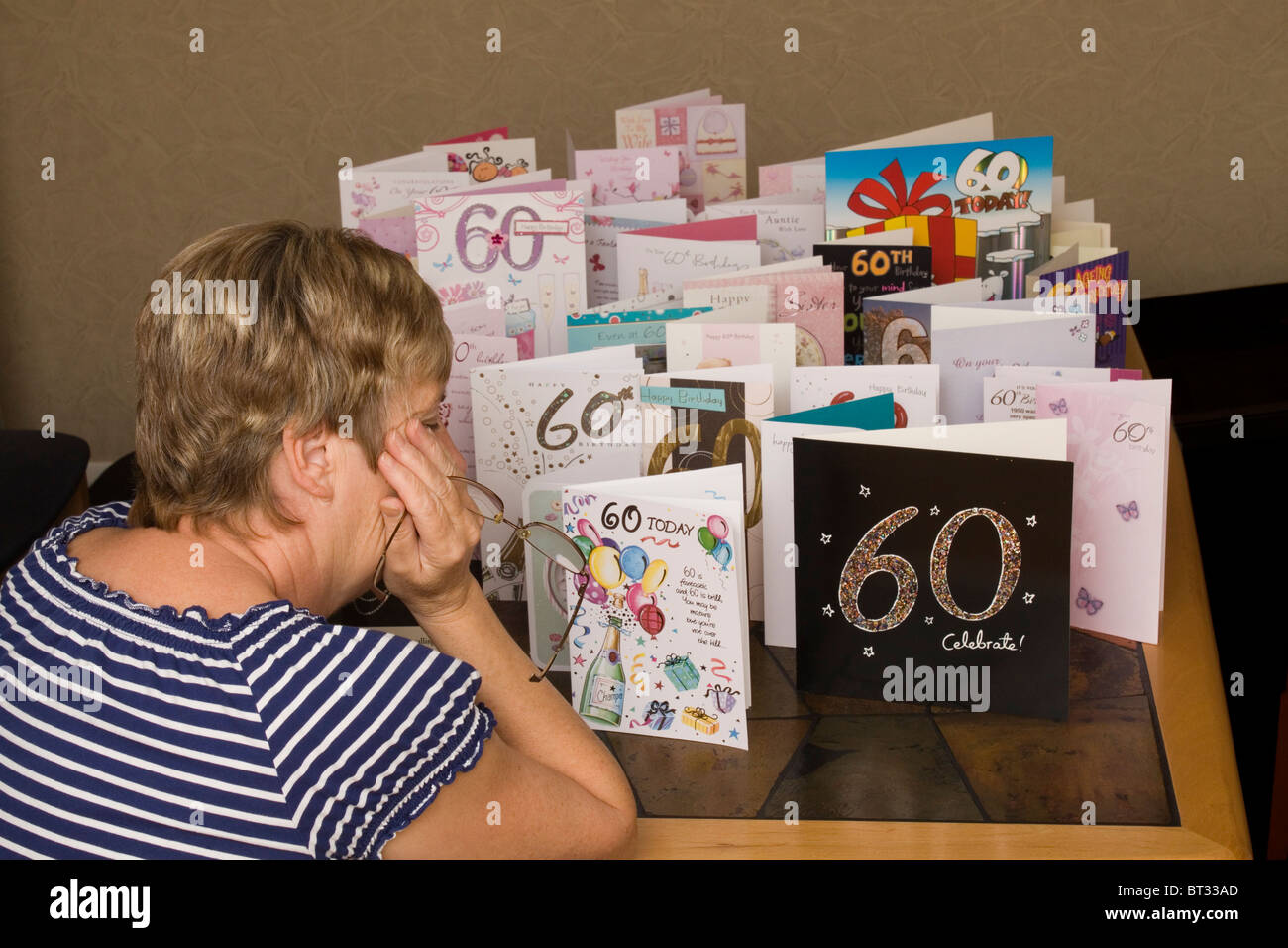 A Depressed Woman Looks At Her 60th Birthday Cards