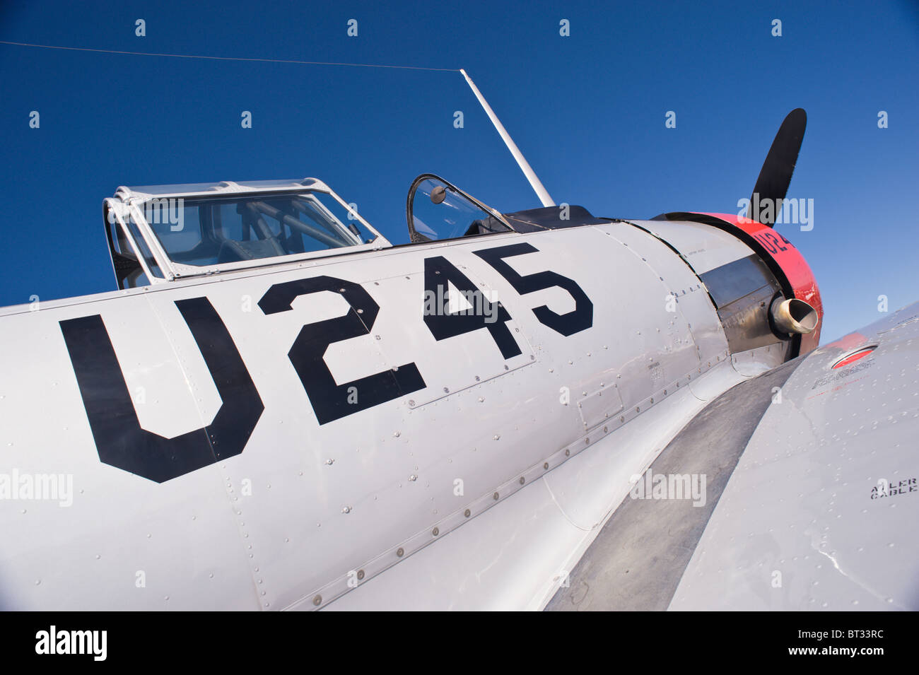 Detail - North American Aviation T-6 Texan, at the Ruidoso Mountain High Fly In, Ruidoso, New Mexico. - Stock Image