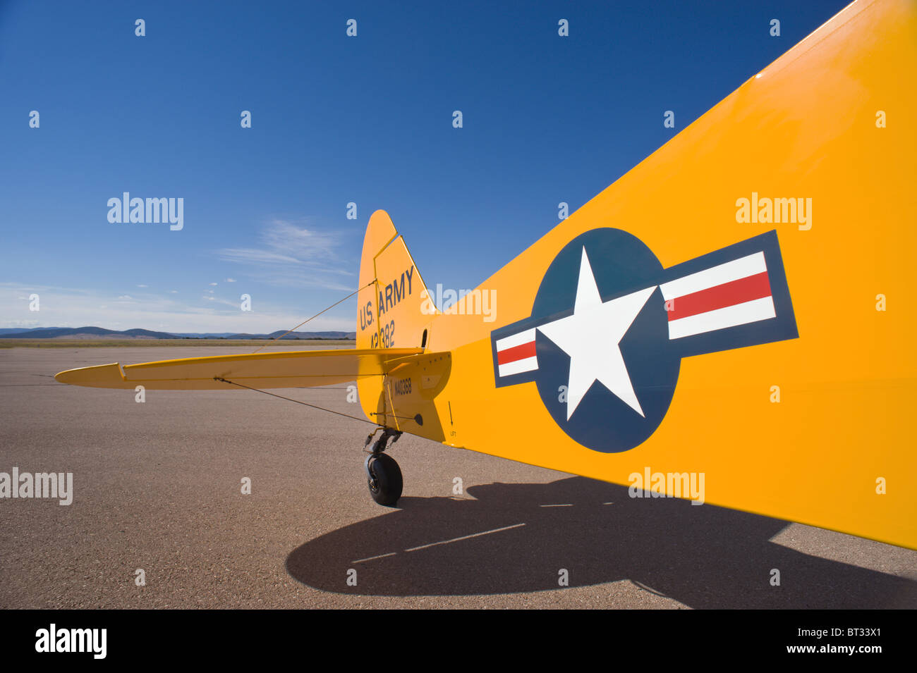 Detail of US Army Piper Cub airplane, at the Ruidoso Mountain High Fly In, Ruidoso, New Mexico. - Stock Image