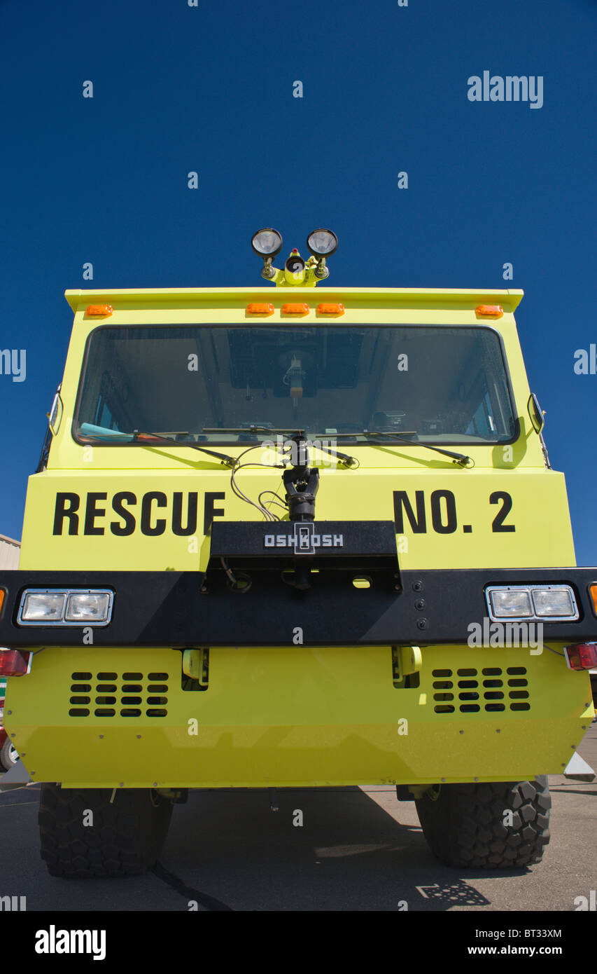 Aircraft rescue and firefighting equipment stands by, at the Ruidoso Mountain High Fly In, Ruidoso, New Mexico. - Stock Image
