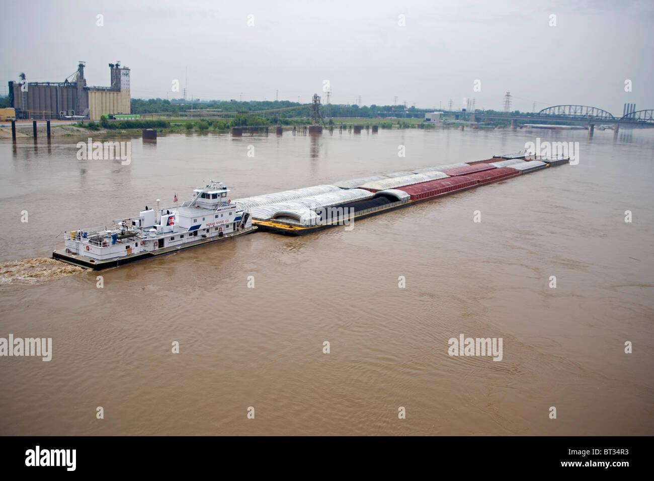 Barge on Mississippi River - Stock Image