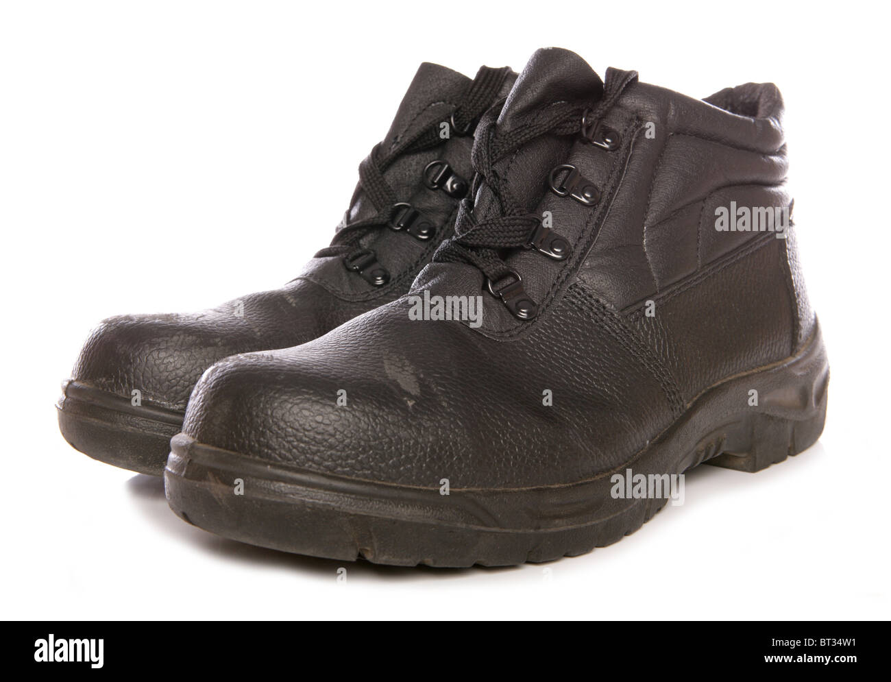 Steel Boots Stock Photos Images Alamy Cut Engineer Shoes Safety Iron Suede Leather Black Toecap Studio Cutout Image
