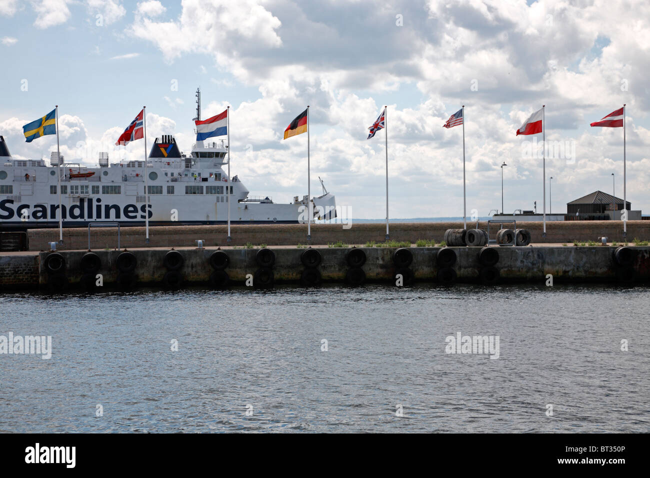 A Scandlines ferry from Sweden entering the berth in the port of Elsinore, Denmark. - Stock Image