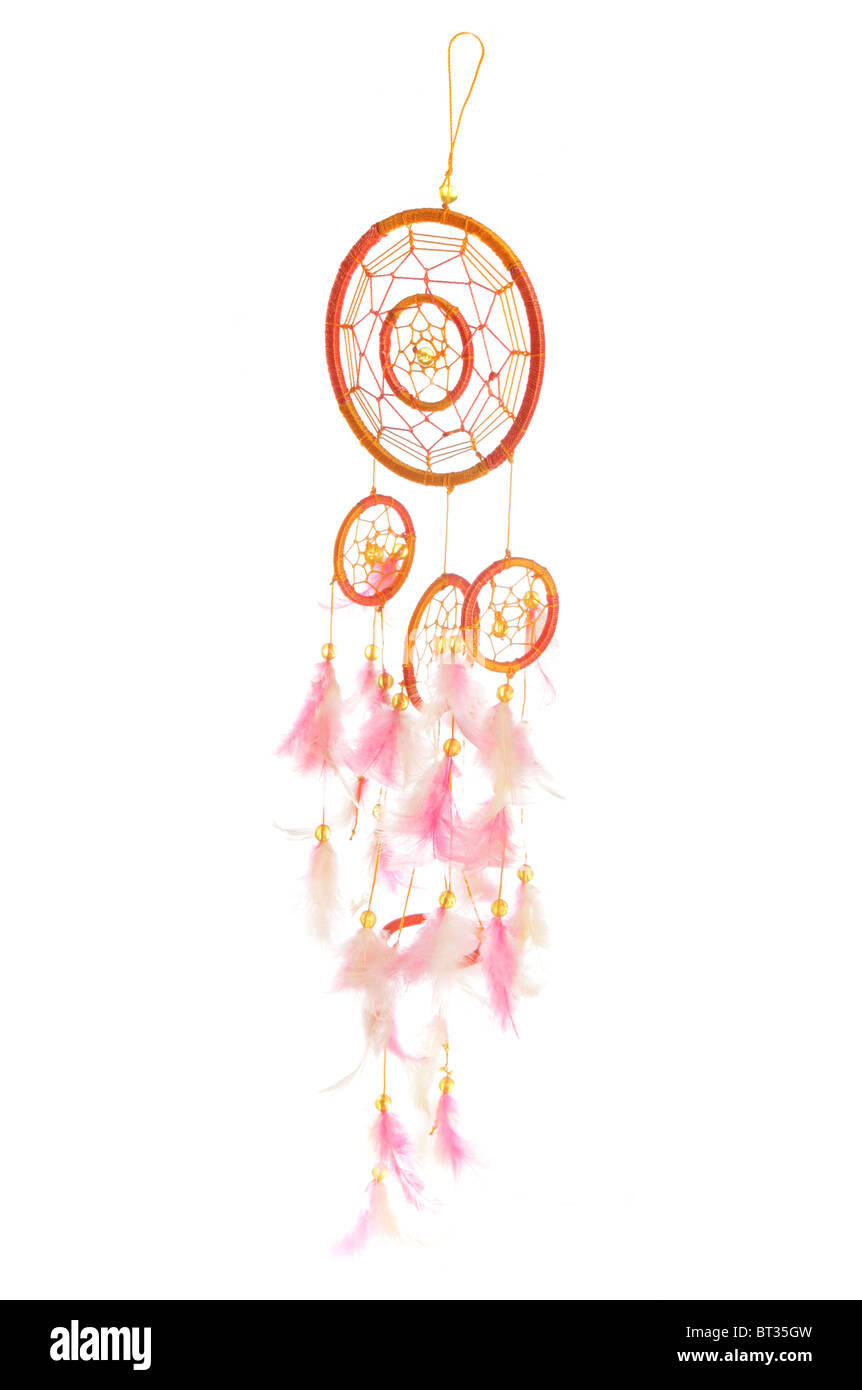 Orange and pink dreamcatcher studio cutout - Stock Image