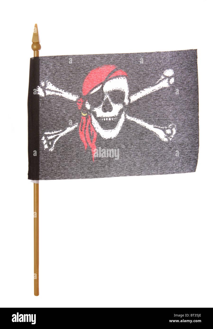 Toy Pirate flag studio cutout - Stock Image