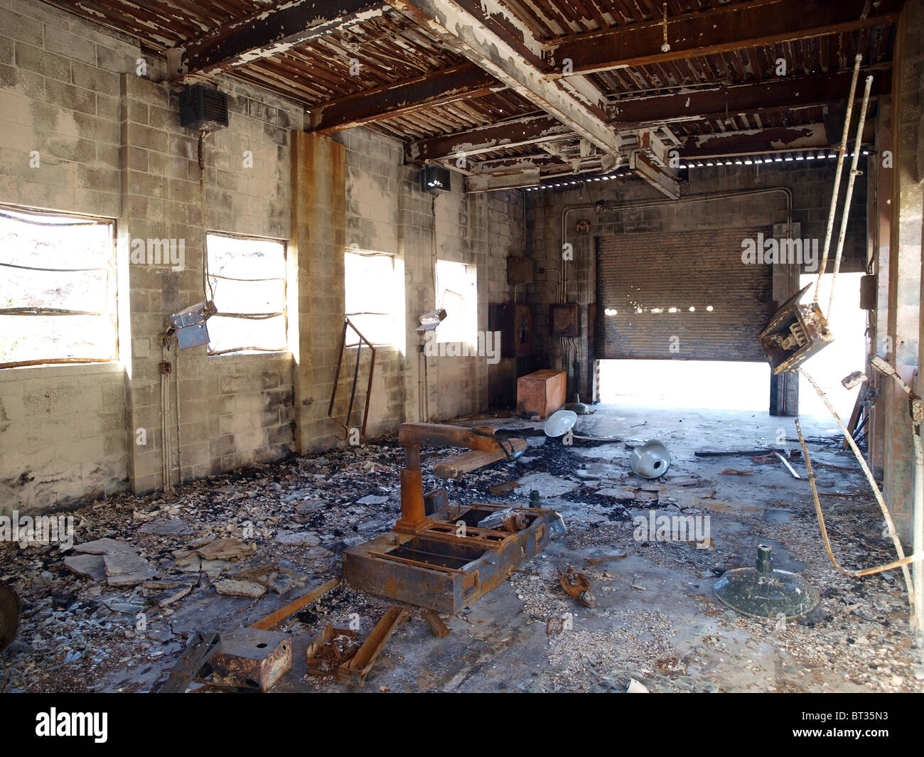 Burned out, blasted out, government owned industrial ruin. - Stock Image